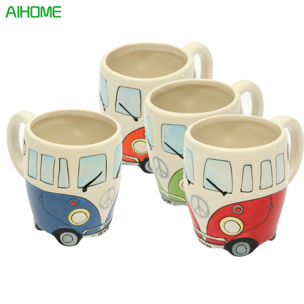 Originality Ceramic Cups Hand Painting Retro Double Decker Bus Mug Cute Coffee Milk Tea Cups Water Bottle Drinkware Gift