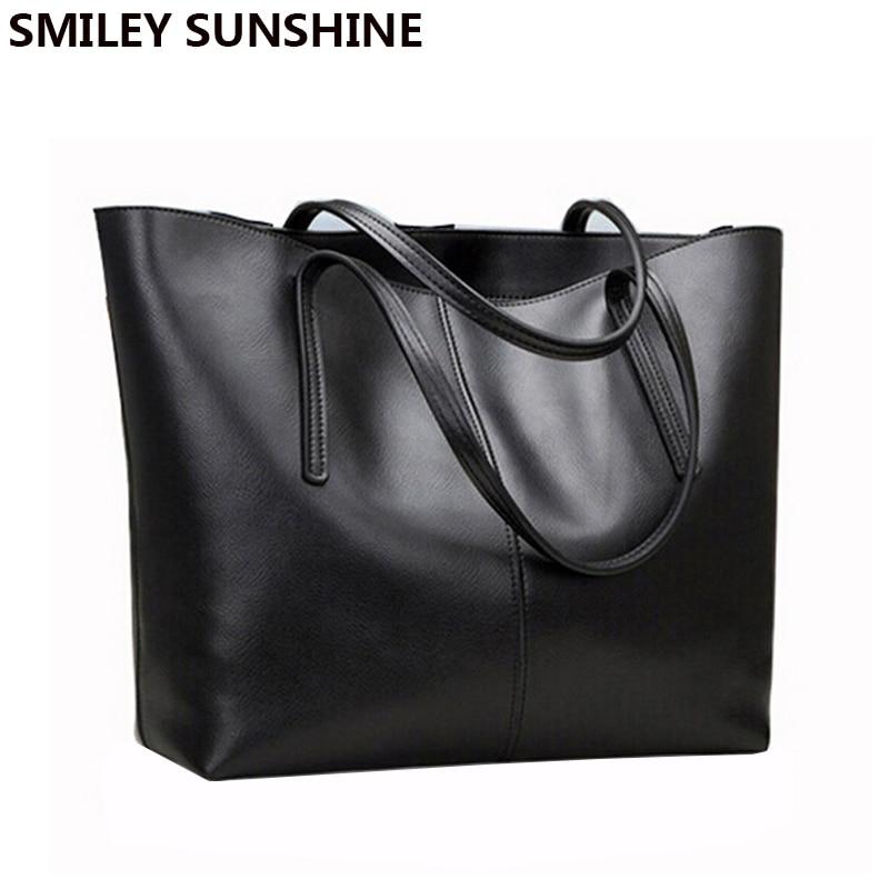 Ladies Genuine Leather Bag Female Large Shoulder Bag for Women Big Black Luxury Famous Brand Women