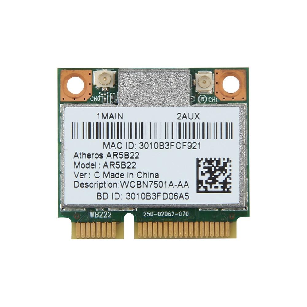 Dual Band 300Mbps Wifi AR5B22 Wireless 802.11bgn Half Mini PCI-E WLAN 2.4G/5Ghz Wi-Fi + Bluetooth 4.0 COMBO Lan Network Card