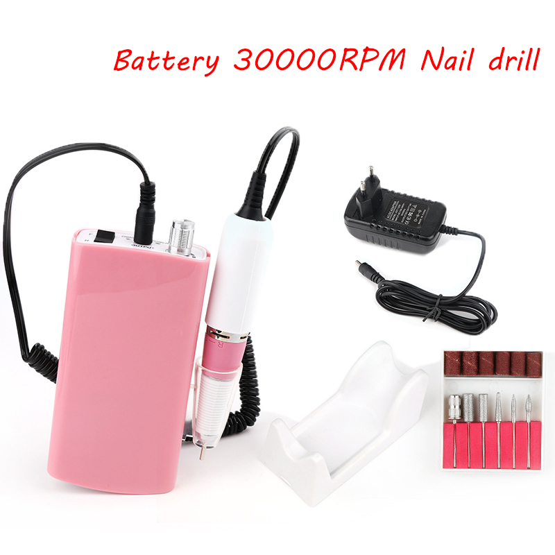 Portable batteryt 18W 30000RPM Electric Nail Drill Machine Acrylic Nail File Drill Manicure Pedicure Kit Nail Art Equipment new 18w 30000rpm electric nail drill manicure machine acrylic nail file drill manicure pedicure kit nail art equipment