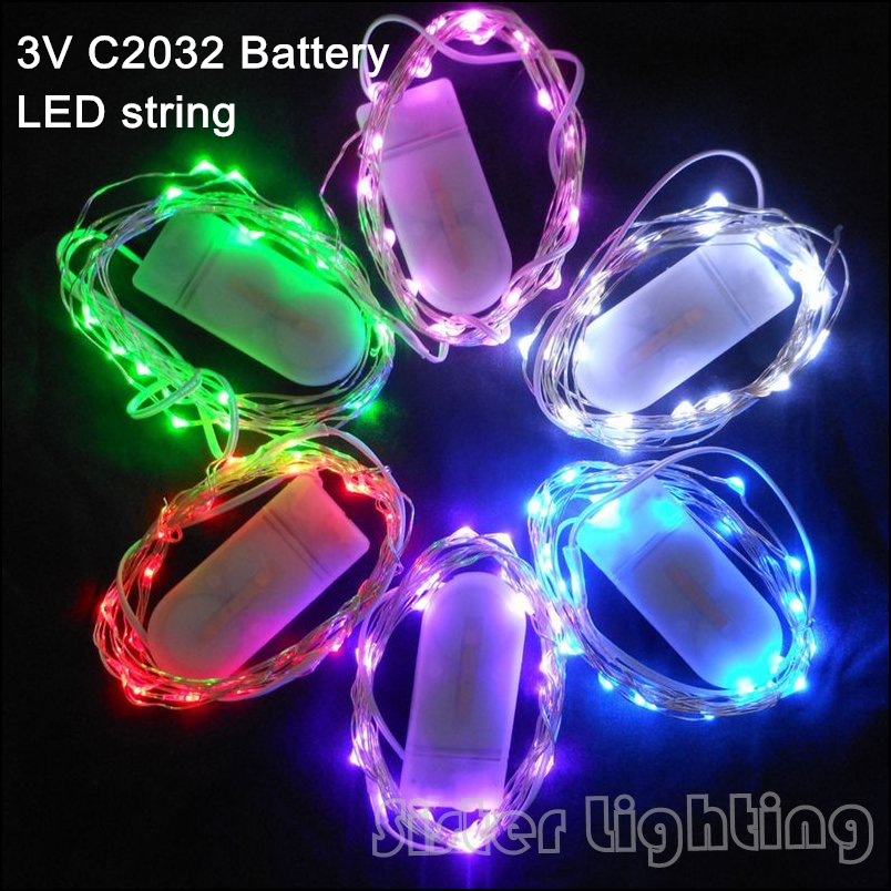 CR2032 Button Battery Powered 2M 20 LED Silver/Copper Wire Mini Fairy String Lights For Holiday Christmas Wedding Party 9Colors