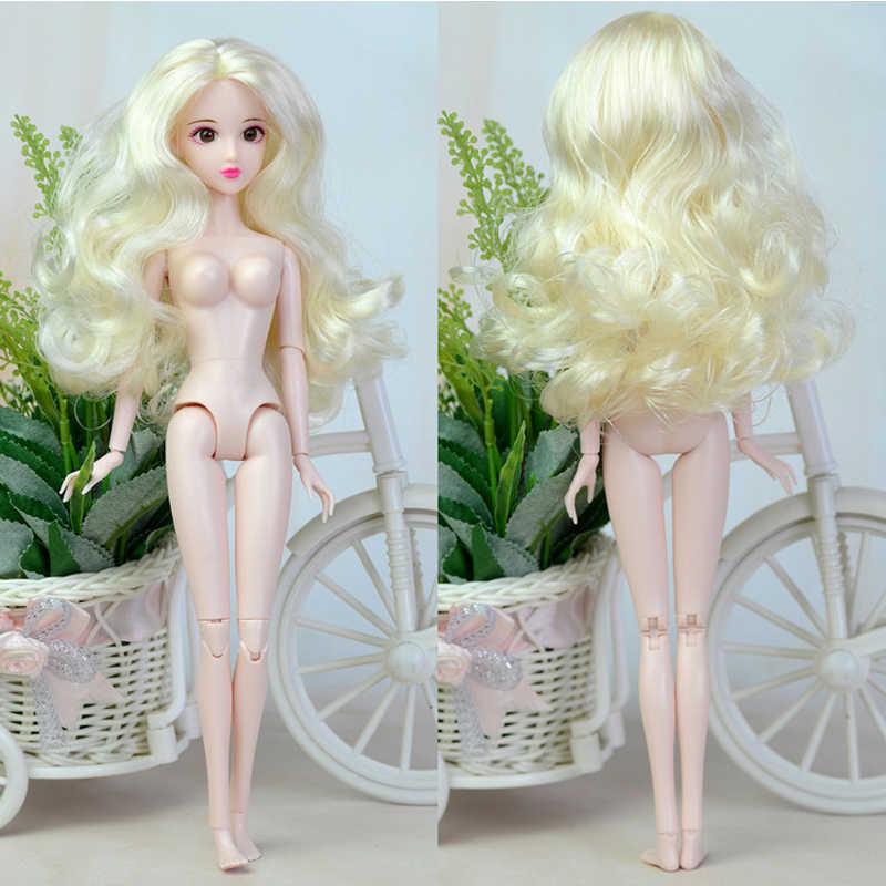 1 Set 16 Gezamenlijke Pop 3D Real Eyes Ontwijken Lijm Pop Hoofd 1/6 Bjd Met Haar Pop Accessoires Met Make up Cosplay Pop Voor Meisjes Speelgoed