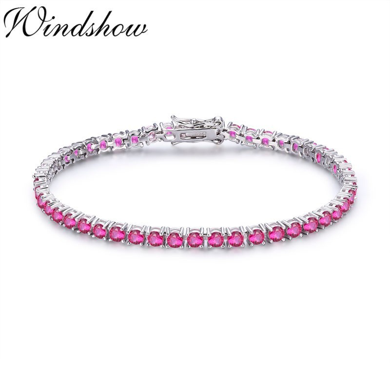 3mm 925 Sterling Silver Cluster Round Rose Red CZ Ziron Tennis Bracelets Pulseras Pulseira Bracelete Women Jewelry Girl Friend tongzhe endless mens bracelets 2018 sterling silver 925 cz rose gold charm infinity tennis bracelets for women jewelry pulsera