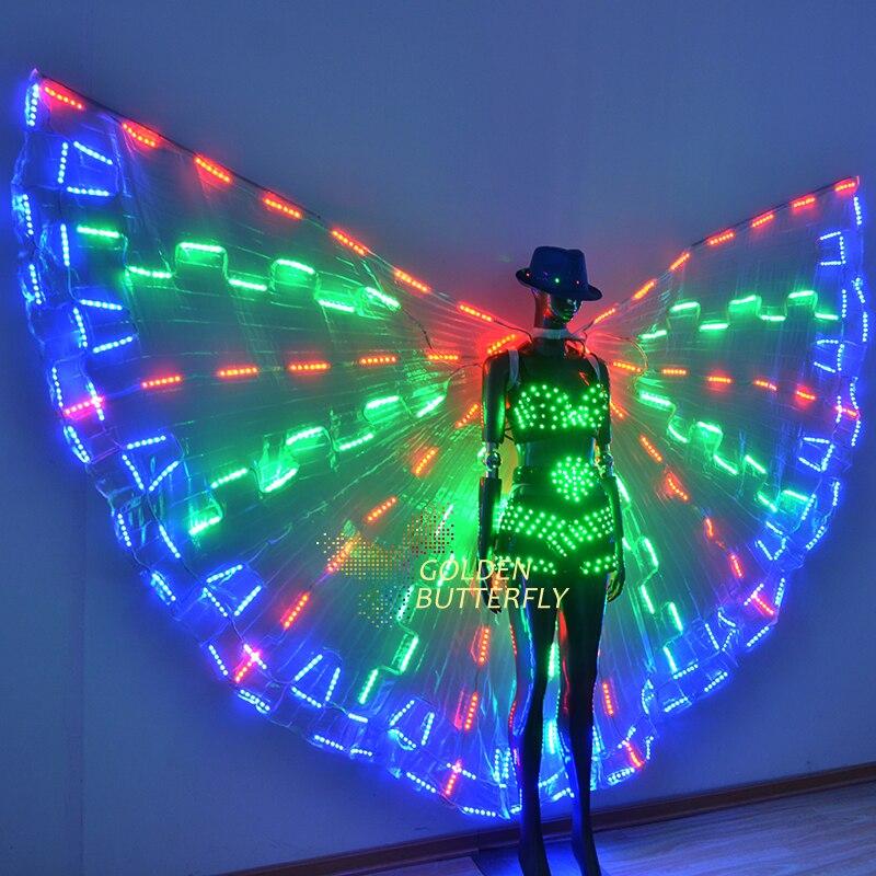 LED podprsenky dámské šortky 2017 nové světelné kostýmy křídlo zářící křídlo LED pásy oblečení dámské LED obleky taneční šaty doplňky