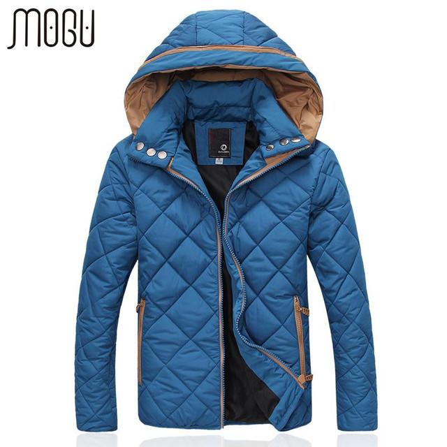 MOGU Revestimentos Do Inverno Dos Homens Casual Masculino Casacos Com Capuz de Algodão Fit Moda Engrossar Jaquetas Terno de Alta Qualidade Dos Homens de Slim casaco