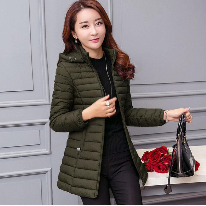 Image 3 - winter jacket women parka Large size Thicken warm Hooded long Slim Solid Down cotton coat jacket women Outwear Parkas-in Parkas from Women's Clothing