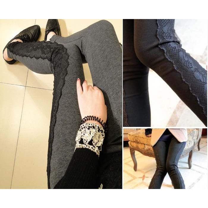 2018 new fashion Leggings Women trousers with lace fitness new thin patchwork winter slim pants
