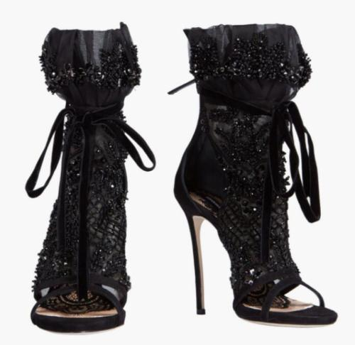 US4-11 Womens Rhinestones Open Toe Lace Up Stilettos Black High Heel Ankle Boots Sandals Shoes Genuine Leather Plus Size silver and gold short boots women sandals hollow out back zipper open toe high heel stilettos plus size fold ankle boots