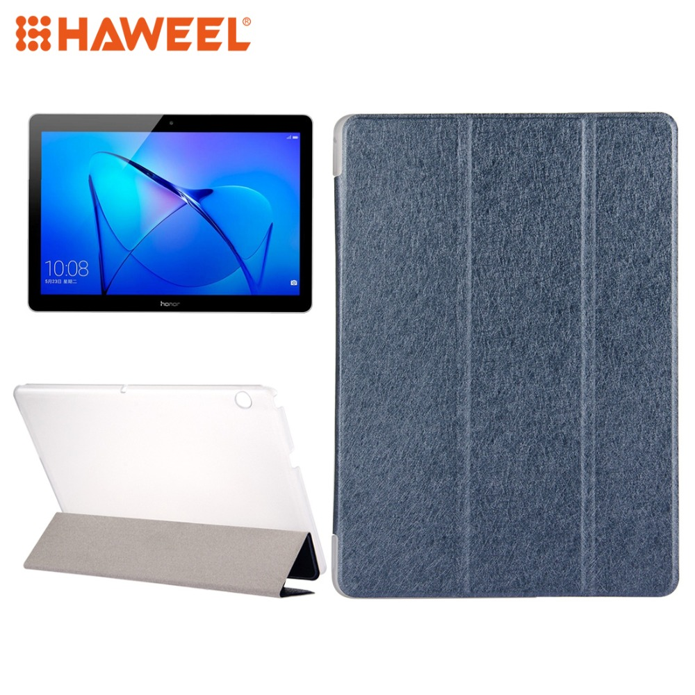 HAWEEL Cover Case For Huawei MediaPad T3 10 9.6 inch Silk Horizontal Flip Tablet Leather Case+3-folding Holder For Huawei Pad