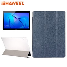 HAWEEL Cover Case For Huawei MediaPad T3 10 9.6 inch Silk Horizontal Flip Tablet Leather Case+3-folding Holder Pad