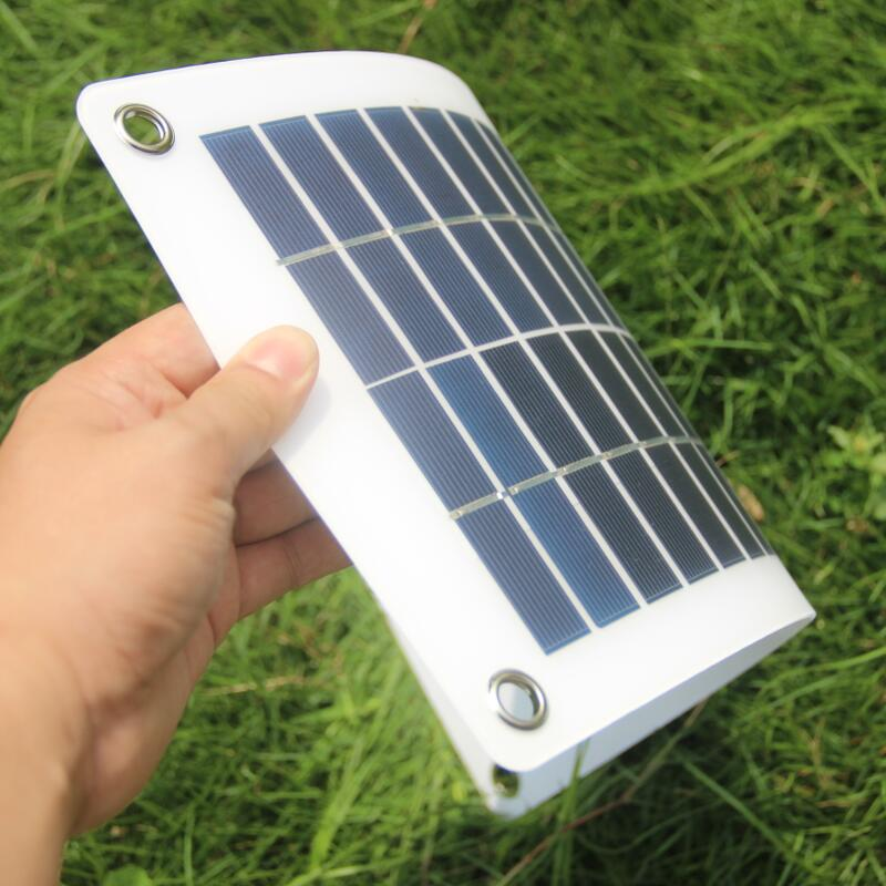 Semi-flexible 10W 18V 12V Portable Solar Panel Charger with DC 5521 Cable Clips Adapter For 12V Car Boat Motor Battery Charger image