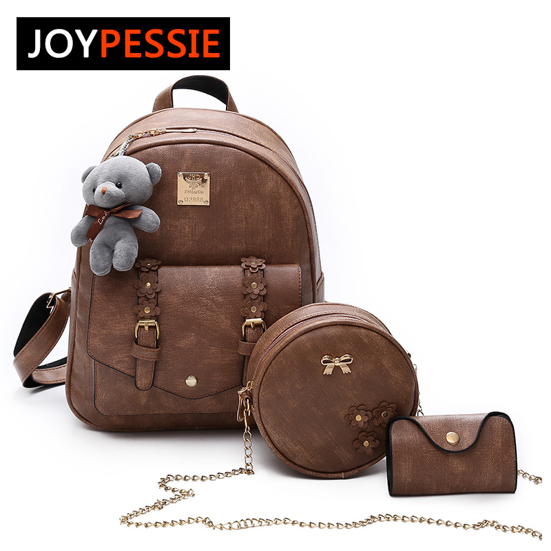 JOYPESSIE 3Pcs/Set Small Women Backpacks female School Bags For Teenage Girls Black PU Leather Women Backpack Shoulder Bag Purse 3pcs set hot women backpacks female school bags for teenage girls black pu leather backpack shoulder bag purse mochila sac a dos