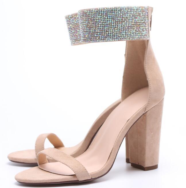 Nu 2019 Femme Découpes Pictures Sandale Talons Haut À Épais Suede Chaussures Orné Dame Sexy De Prélèvement As Talon Cristal Bout Ouvert Carole F8wS55