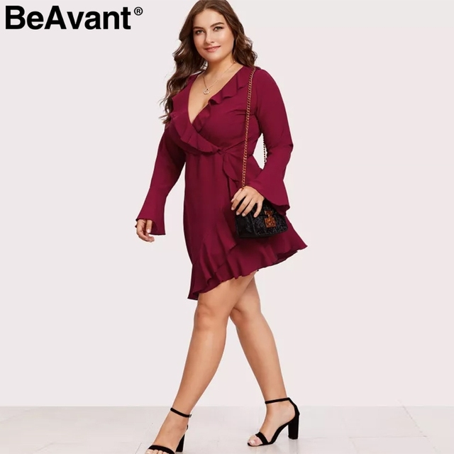 BeAvant Elegant ruffle v-neck plus size women dresses 2019 Long flare sleeve summer dresses Causal short ladies dress vestidos 4