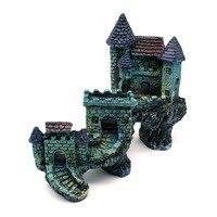 1PCS Simulation European Villas Castle Aquarium Ornament Fish Tank Landscape Decoration Blue