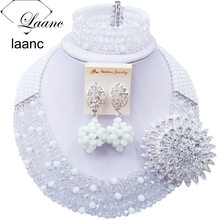 Красивый белый прозрачный кристалл бисерные ожерелья костюм нигерийские Свадебные африканские бусы Набор украшений для женщин 5SZK007