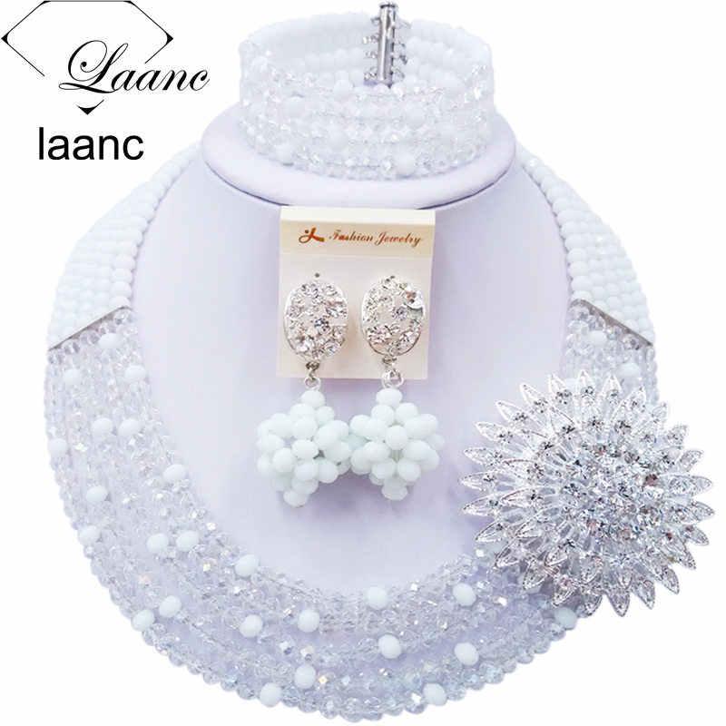 Schöne Weiß Transparent Kristall Perlen Halsketten Kostüm Nigerian Hochzeit Afrikanische Perlen Schmuck Set für Frauen 5SZK007
