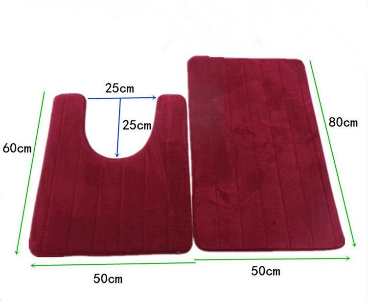 2 Pcs Simple Bathroom Mat Set U Shape Bathroom Carpet Toilet Rugs Non Slip WC Mat High Water Absorbent Bath Rugs Tapete Banheiro