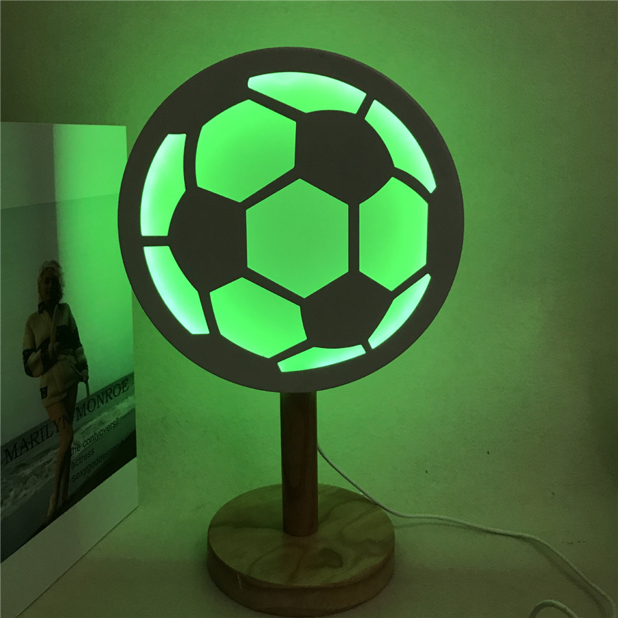 BEIAIDI 3D Football LED Night Light Atmosphere Bedside Table Desk Lamps Baby Sleeping Light Children Kids Boy Toys Light Gift