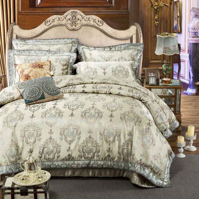 2018 Luxury Jacquard Bedding Set Golden Gray King Size Duvet Cover Cotton Quilt Bedspread European Style
