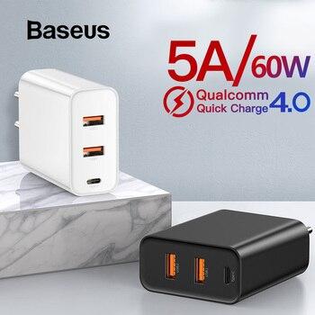 Baseus 60 W Carregador USB Carregador de Carga Rápida USB 3.0 Tipo C para iPhone 8 X XS PD 5A Rápido carregador USB para Huawei Samsung S10 S9