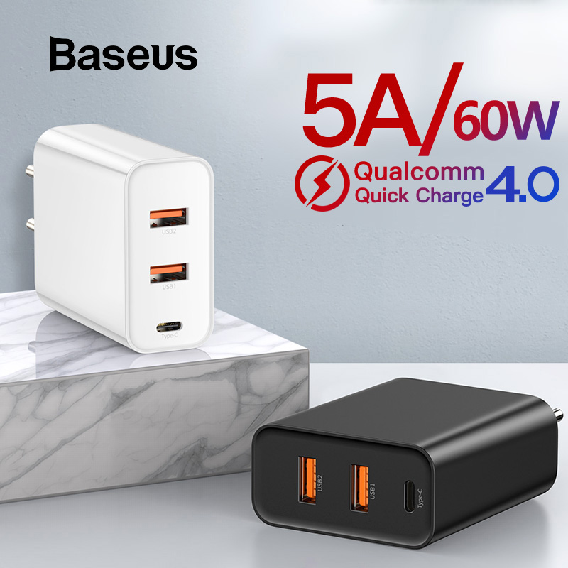 Baseus 60W USB Charger Quick Charge 4.0 USB Type C Charger for iPhone 8 X XS PD3.0 5A Fast USB Charger for Huawei Samsung S10 S9