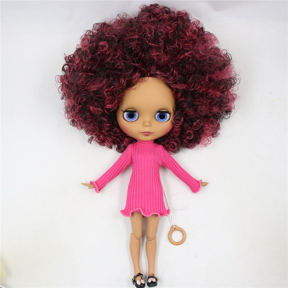 ตุ๊กตาบลายธ์ตุ๊กตา 1/6 bjd joint body ผิว matte face,ไวน์แดงผสมสีดำ Afro ผม, naked ตุ๊กตา 30 ซม.QE155/9103-ใน ตุ๊กตา จาก ของเล่นและงานอดิเรก บน   3