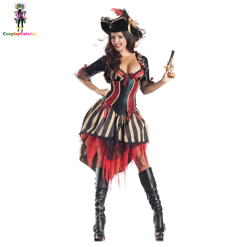 Steamy Deluxe Striped Pirate Costume Halloween Adults Sexy Women Captain Fever Costumes Buccaneer Pirates Vixen Girl Uniforms