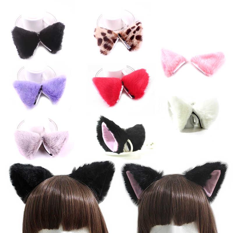 Распродажа 1 пара кошачьи, лисьи Уши Шпильки для женщин модная одежда девочек Плюшевые Головные уборы Прекрасный подарок косплэй аниме