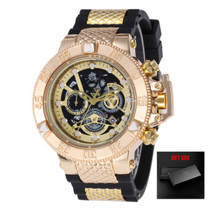 Relogio Dourado Masculino Men Watch Quar