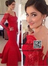 V-ausschnitt Rote Spitze Und Satin Sexy Long Sleeves Abschlussball-kleider Meerjungfrau Abendkleider Öffnen Zurück Maid Kleider