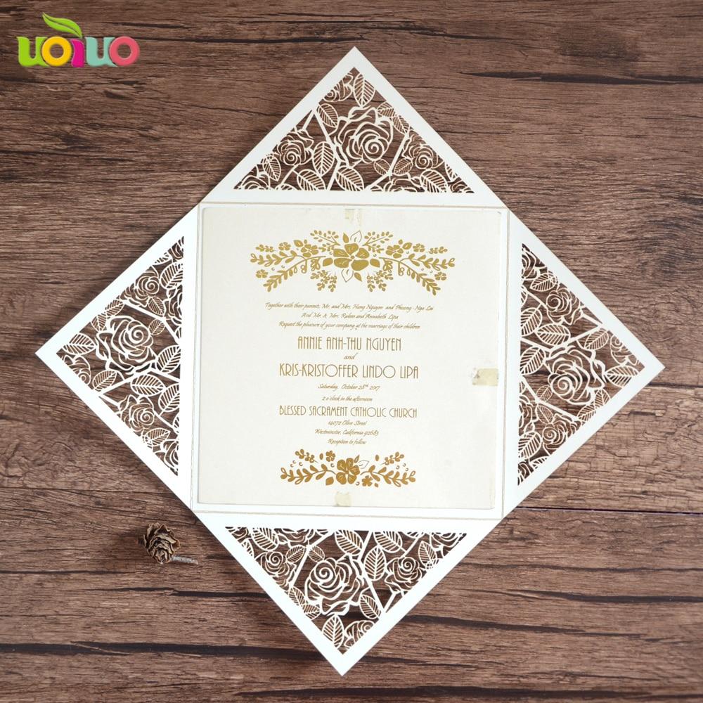 custom laser cut birthday invitations card rose wedding invitations ...
