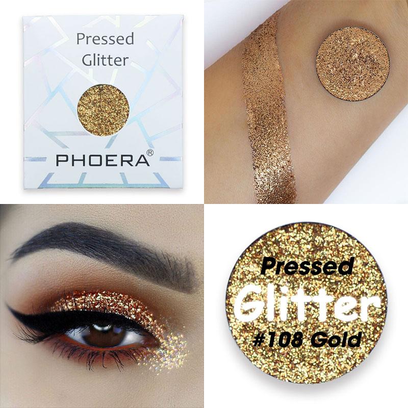 PHOERA 12 Colors Diamond Glitter Eye Shadow Waterproof Glitter Metallic Shimmer Metal Eye Shadow Shine Pigment Cosmetics TSLM2