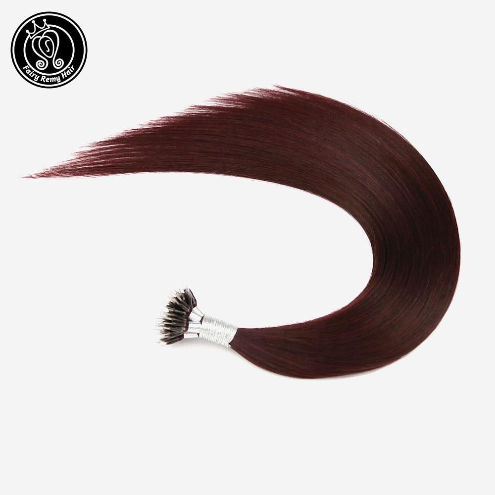 Fairy Remy Hair Nano Ring Hair Extensions Burgundy #99J Micro Nano Tip Hair Extensions 100% Real Remy Human Hair 0.8g/s 16