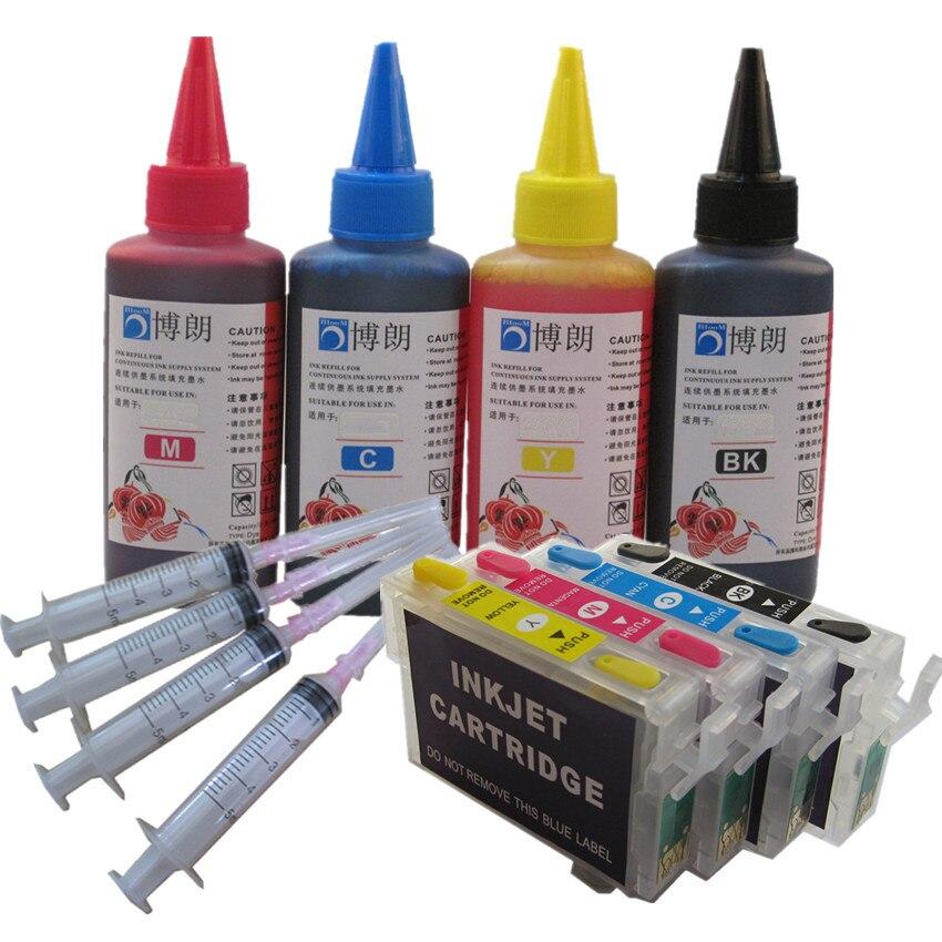 Refill Ink Kit For EPSON T1631 16 XL Ink Cartridge WorkForce WF 2630WF 2660 WF-2750DWF WF-2760DWF WF 2760 2750 + 4 X 100ML Ink