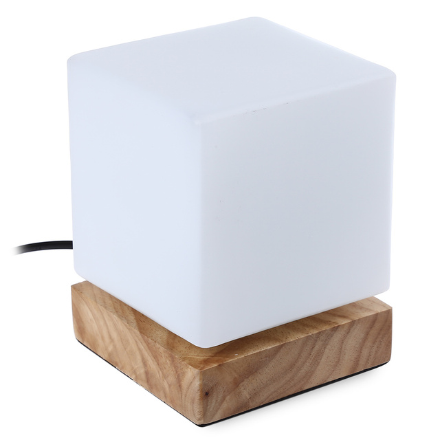 2016 Fashion LED Table Lamp Square Shaped LED Desk Light Wooden Base Table  Lamp Foyer Study