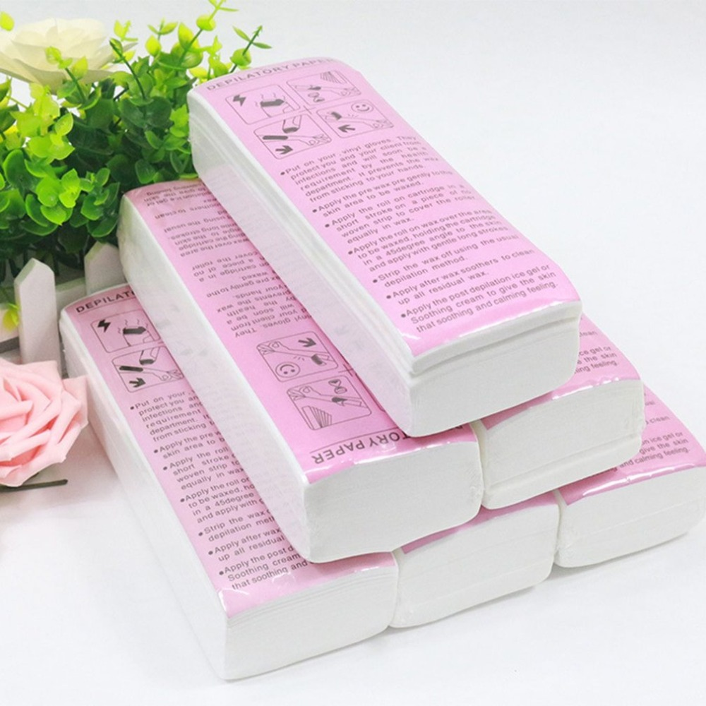 100pcs Hair Removal Wax Strips for Face Body Professional Wax Strips for Depilation Nonwoven Paper Use Roll-On Cartridge Wax