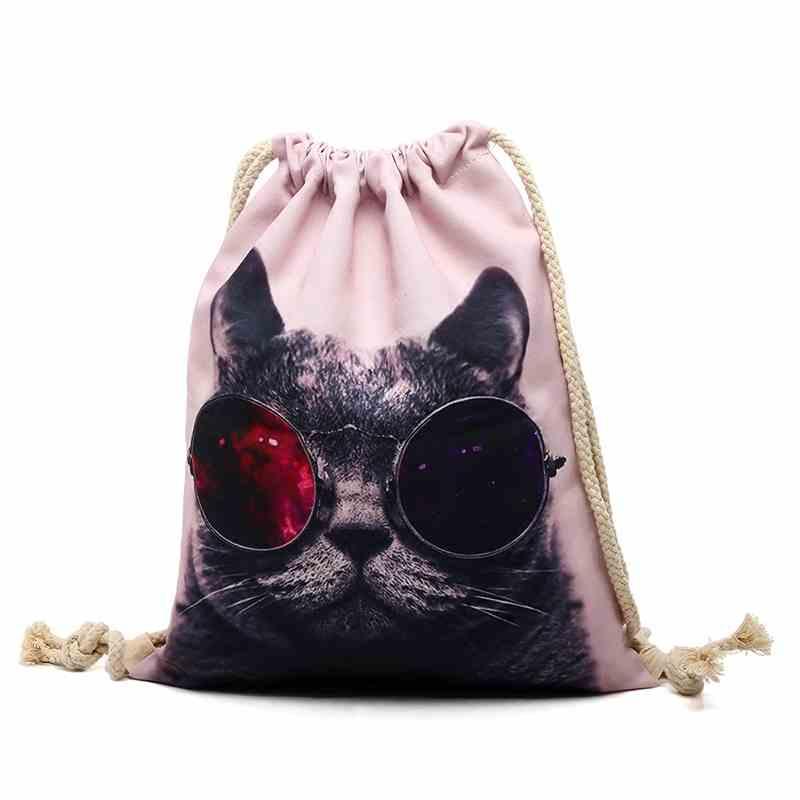 Cat pattern SchoolBag Drawstring Backpack For Teenage women Drawstring Bag Packing Cubes Large Capacity Mochila sports
