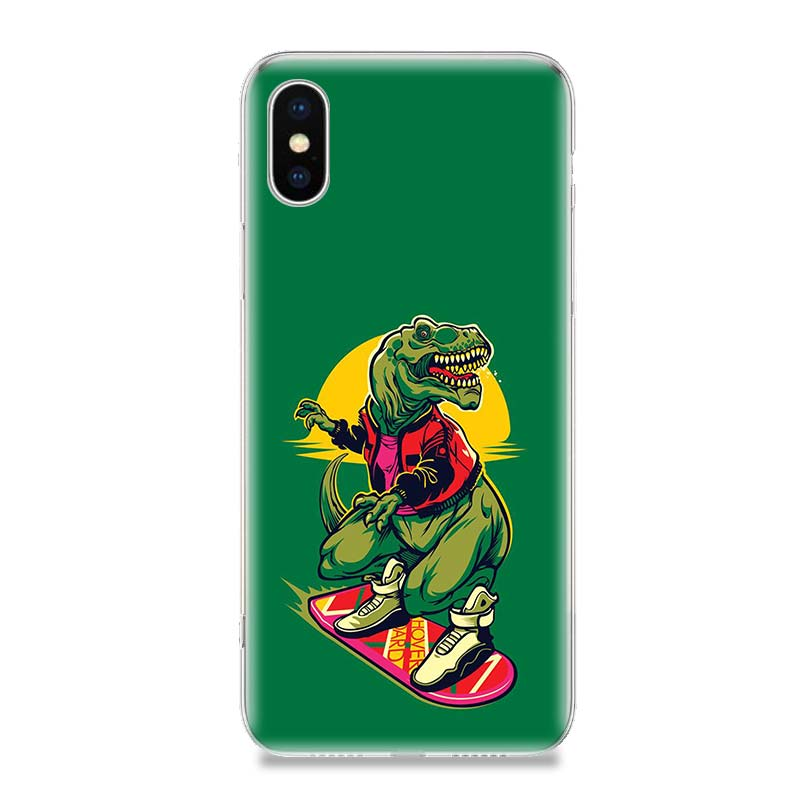 Dinosaur Cute Cool Fashion Phone Case For iPhone 7 8 6 6S Plus X 10 Ten XS MAX XR 5 5S SE Art TPU Patterned Cover Coque Capa in Half wrapped Cases from Cellphones Telecommunications