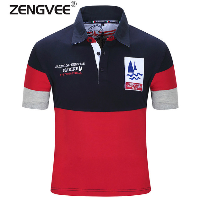 Hot selling Cotton Mens Polo Shirts Turn Down Collar Summer Casual Patchwork Short Sleeve Polos Breathable High Quality