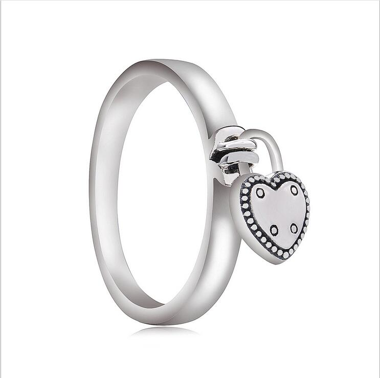 Charms-Ring Jewelry-Accessorie 925-Sterling-Silver American-Fashion-Style Love Lock Female