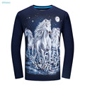 Hot Sale Big Boys T Shirts for Kids 2017 Spring Autumn O-neck Cotton Long Sleeve T Shirt Men Slim Fit 3d Horse Sport Tops Tees
