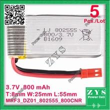 5 pcs./Lot Embalagem Da Segurança, 2 pinos 3.7 V bateria de Polímero de lítio 802555 800 mah para UAS Zona mini drone Drone UAV fpv Tamanho: 8x25x55mm