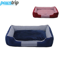 4 Colors Canvas Pet Dog Beds Waterproof Bottom Detachable Double Sided Used Fleece Warm Puppy Beds