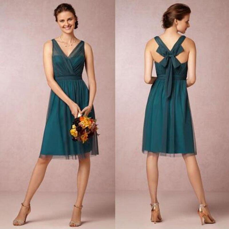 2019 nouveauté pas cher une ligne col en V longueur genou sarcelle couleur robes de demoiselle d'honneur courte Vintage Tulle Satin Bow robes de soirée