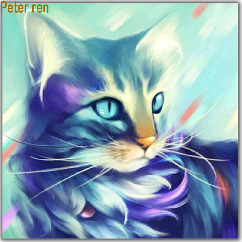 Peter ren Diy Diamond painting cross stitch cat Full Square &Round diamond mosaic embroidery Painting rhinestones kitten