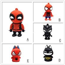цена на Pendrive cartoon Spiderman/Batman/Death memory stick pen drive 4GB 8GB 16GB 32GB 64GB cute u disk creative gift usb flash drive