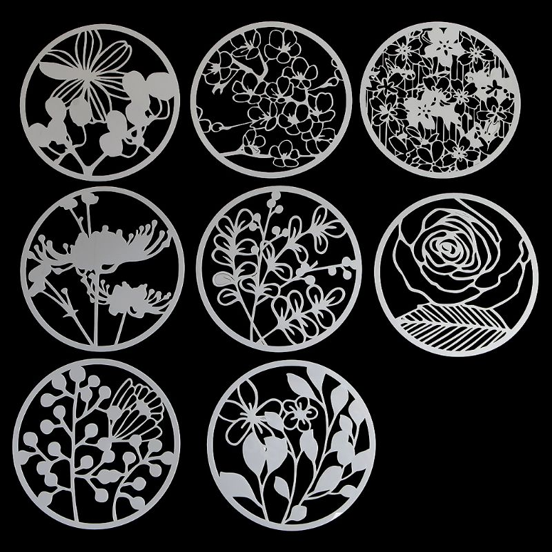 Home 12pcs Kids Datura Flowers Drawing Molds Plastic Children Painting Stencils Diy Paper Art Craft Card Label Scrapbook Bookmark