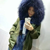 Army Green Fashion bomber jacket blue Wolf fur inside waterproof bombers for women and man