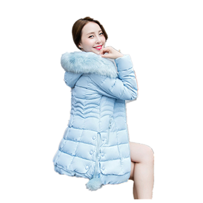 Womens Winter Jackets And Coats 2017 New Fashion large fur collar Cotton Jacket Women Winter Coat Top Warm Parkas charter club 2738 new womens white cotton henley top shirt petites ps bhfo